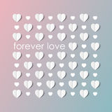 3D paper hearts with shadow on a pink and blue gradient Royalty Free Stock Image