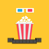 3D paper red blue glasses and big popcorn box. Film strip. Cinema movie icon set in flat design style. Yellow background. Stock Photos