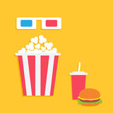 3D paper red blue glasses and big popcorn box. Soda with straw Royalty Free Stock Photo