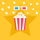 3D paper red blue glasses and big popping popcorn box. Cinema movie night icon in flat design style. Star shadow. Yellow  Stock Images