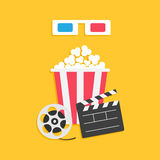 3D paper red blue glasses. Open clapper board Movie reel Popcorn Cinema Movie icon set. Flat design style. Yellow background. Vector illustration Royalty Free Stock Images