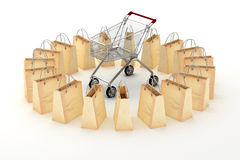 3d paper shopping bags and a shopping cart Royalty Free Stock Photo
