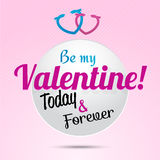 3d paper Valentine's Day Badge card. Vector illustration eps 10 Royalty Free Stock Photo