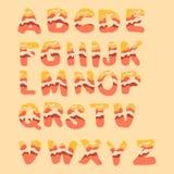 3D papercut alphabet. Vector illustration. Set of  letters for inscriptions. 3D papercut effect. Vector illustration of an alphabet Royalty Free Stock Image