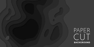 3D papercut banner of gradient black paper layers vector pattern background. 3D papercut banner of gradient black paper layers. Vector background design of Stock Photos