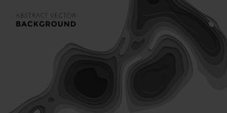 3D papercut gradient pattern background banner black paper multi layers vector. 3D papercut banner of gradient black paper layers. Vector background design of Stock Photography
