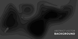 3D papercut banner of gradient black paper multi layers vector pattern background. 3D papercut banner of gradient black paper layers. Vector background design of Royalty Free Stock Photography