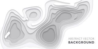 3D papercut layers, paper cut vector art background banner texture website template. 3D papercut banner of gradient white paper layers. Vector background design stock illustration