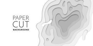 3D papercut layers, paper cut vector art background banner texture website template. 3D papercut banner of gradient white paper layers. Vector background design vector illustration