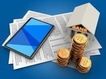 3d papers. 3d illustration of papers and tablet computer over blue background with bank Royalty Free Stock Photography