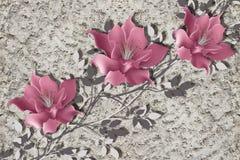 3d papier peint, fleurs de magnolia sur le mur rugueux de plâtre illustration stock