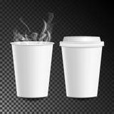 3d Papierowej filiżanki Kawowy wektor gorący napój Inkasowy 3d filiżanki Mockup Odizolowywający Na Przejrzystej tło ilustraci Obraz Royalty Free