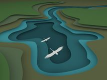 3d papieru cięcia stylu topograficzny krajobraz Cyzelowanie sztuki jezioro z latającymi ptakami, odgórny widok, 3d renderingu ilu royalty ilustracja