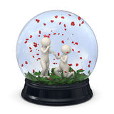 3d para w śnieżnej kuli ziemskiej walentynka - małżeństwo propozycja - Obraz Stock