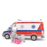 3d Paramedic treating a patient near an ambulance Royalty Free Stock Photo