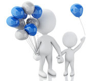 3d parents with children and balloons Stock Photos