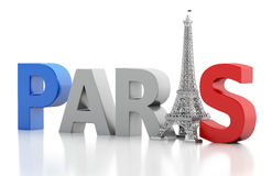 3d Paris word with eiffel tower. Royalty Free Stock Photo