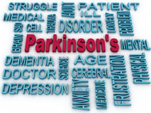 3d Parkinson's disease symbol isolated on white. Mental health s