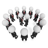 3D partnership/ handshake/ agreement concept. 3D cartoon characters wearing black suites and red ties, two of them shaking hands - teamwork/ cooperation concept Royalty Free Stock Image