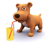 3d Party puppy. 3d render of a dog drinking from a glass with a straw Stock Photography