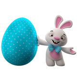 3D Pasen-konijntje, vrolijk beeldverhaalkonijn, dierlijk karakter met Pasen-kleurenei stock illustratie