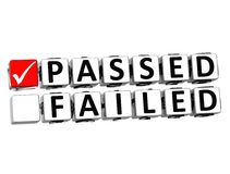3D Passed Failed Button Click Here Block Text. Over white background Royalty Free Stock Photos