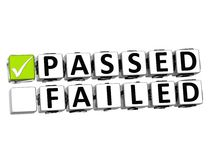 3D Passed Failed Button Click Here Block Text. Over white background Stock Images