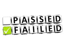 3D Passed Failed Button Click Here Block Text. Over white background Royalty Free Stock Image