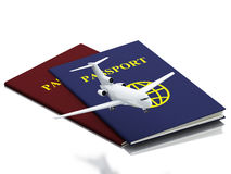 3d passport and airplane. Travel concept. 3d renderer illustration. Passport and airplane. Travel concept.  white background Royalty Free Stock Images