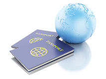 3d passport and Earth Globe. Travel Concept. 3d renderer illustration. Passport and Earth Globe. Travel and vacation Concept.  white background Stock Photos