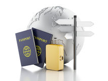 3d passport, earth globe and travel suitcases. 3d renderer illustration. Passport, earth globe and travel suitcases. Travel and vacation Concept.  white Royalty Free Stock Photos