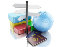3d passport,  travel suitcases and Earth Globe. Royalty Free Stock Photos
