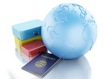 3d passport,  travel suitcases and Earth Globe. 3d renderer illustration. Passport,  travel suitcases and Earth Globe. Travel and vacation Concept.  white Stock Image
