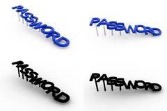 3d password concept collections with alpha and shadow channel Royalty Free Stock Photography