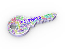 3d password wordcloud tag key Royalty Free Stock Photo