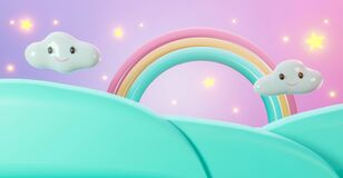 3d pastel of cartoon landscape background abstract. sweet cute stars rainbow with clouds and mountains. 3d rendering for mockup,