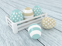 3d pastel Easter eggs in wooden box Stock Photo