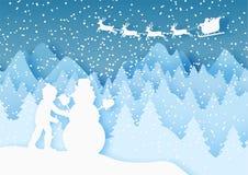 3d pastelu abstrakcjonistycznego papieru rżnięta ilustracja chłopiec budynku bałwan i Santa latanie w niebie rabatowy bobek opusz ilustracji