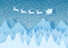 3d pastelu abstrakcjonistycznego papieru rżnięta ilustracja zima krajobraz z chmurami, sosnami, górami i Santa, Claus wektor Fotografia Royalty Free