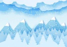 3d pastelu abstrakcjonistycznego papieru rżnięta ilustracja zima krajobraz z chmurami, sosnami i górami, rabatowy bobek opuszczać Zdjęcia Royalty Free