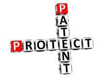 3D Patent Protect Crossword on white background Royalty Free Stock Image