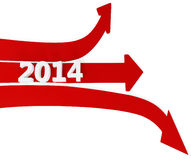 3D path arrows with year 2014. On a white background Vector Illustration