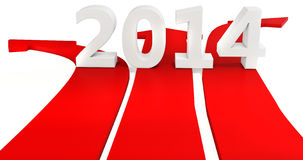 3D path arrows with year 2014 Stock Photo