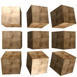 3D patterned cube. 3D solid patterned cube / box Stock Photography