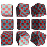 3D patterned cube. 3D solid patterned cube / box Royalty Free Stock Photos