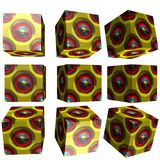 3D patterned cube. 3D solid patterned cube / box Stock Images
