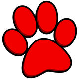 3D Paw Print. Cartoon illustration of a 3D Paw Print stock illustration
