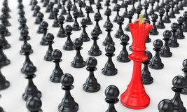 3d pawn army with red queen leading Stock Photo