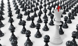3d pawn army with white queen leading Royalty Free Stock Photos
