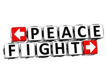 3D Peace Fight Button Click Here Block Text. Over white background Royalty Free Stock Photography
